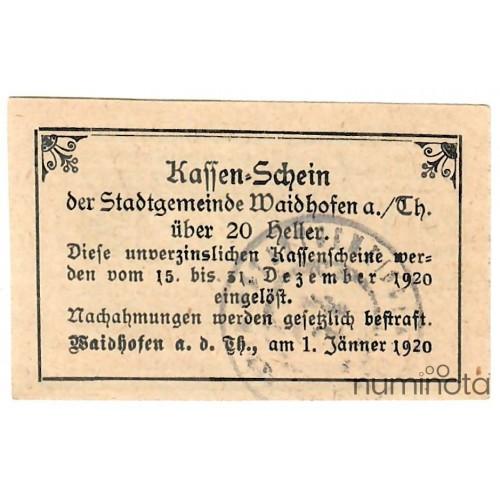 Austrian Notgeld 50 Heller 1920 JPR-JPR0927III-50 XF